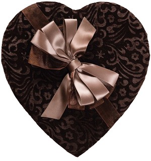Heart Box, Chocolate Velvet, Brown, 1 lb., QTY/CASE-6