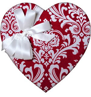 Heart Box, Red Damask, 2 lb. , QTY/CASE-4