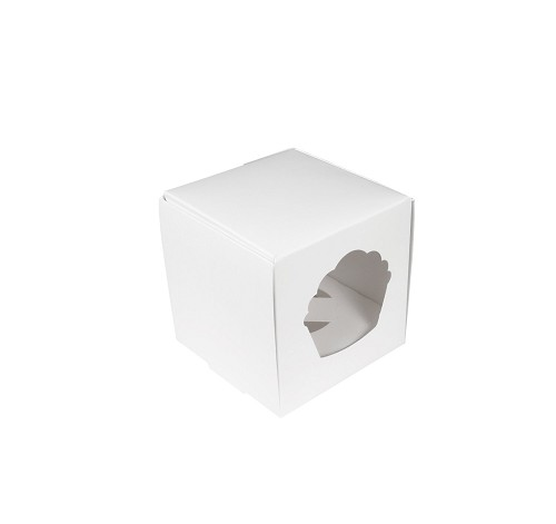 Cupcake or Muffin Box with Window, 1 Cavity, White, 4 x 4 x 4