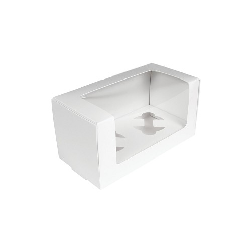 Cupcake or Muffin Box with Window, 2 Cavity, White, 8 x 4 x 4