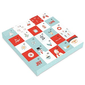 Folding Carton, 1-Piece, Square, Single-Layer, Be Merry Advent Calendar, QTY/CASE-50