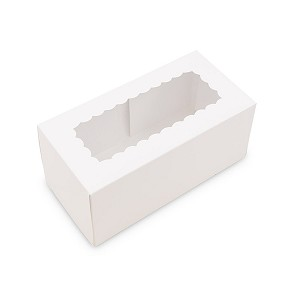 "BY THE PIECE, Folding Carton, Bakery Box, Window, White, 9"" L x 4-1/2"" W x 4"" D"