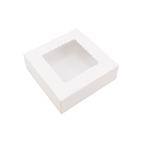 BY THE PIECE, Bakery Box with Window, White, 8 x 8 x 2-1/2