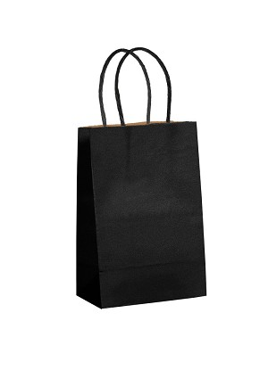 "Kraft Bag, Black Natural, 5.5"" x 3.25"" x 8.375"", QTY/CASE-250"