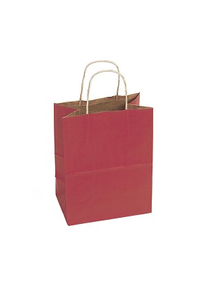 "Kraft Bag, Red Natural, 8"" x 4.75"" x 10.25"", QTY/CASE-250"
