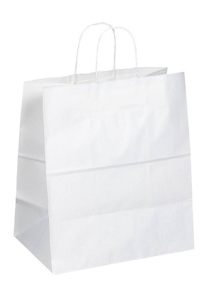 "Kraft Bag, White, 14.5"" x 9"" x 16"", QTY/CASE-200"