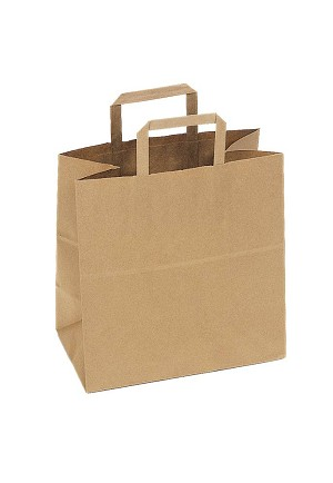 "Kraft Bag, Flat Handle, Natural, 12"" x 7"" x 12"", QTY/CASE-250"