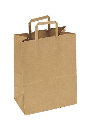 Kraft Bag Flat Handle Natural 12 X 7 1575 QTY CASE 250