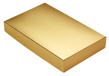 BY THE PIECE, Folding Carton,  This Top - That Bottom Lid, 8 oz., Rectangle, Metallic Gold