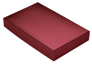 BY THE PIECE, Folding Carton,  This Top - That Bottom Lid, 8 oz., Rectangle, Metallic Red