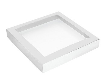 Folding Carton, This Top - That Bottom, Window Lid, 16 oz., Square, White, QTY/CASE-50