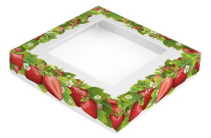 BY THE PIECE, Folding Carton,  This Top - That Bottom Window Lid, 8 oz., Square, Strawberry Fields