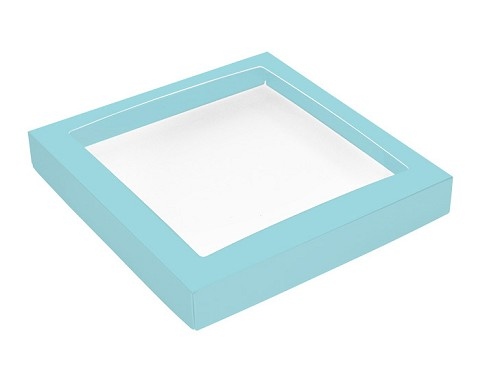 This Top - That Bottom, Window Lid, Square, Robin Egg Blue, 7-1/2 x 7-1/2 x 1