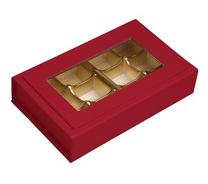 BY THE PIECE, Rigid Set-up Box, Magnetic Charm Window Box, Rectangle, 12-Piece, 5th Ave. Red