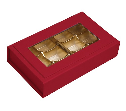 BY THE PIECE, Rigid Set-up Box, Magnetic Charm Window Box, Rectangle, 8 oz., 5th Ave. Red