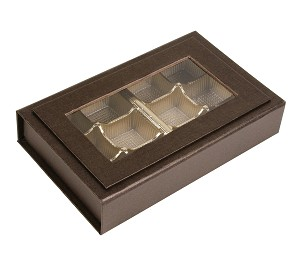 Rigid Set-Up Box, Magnetic Charm Window Box, 8 oz., Deco Bronze, QTY/CASE-12