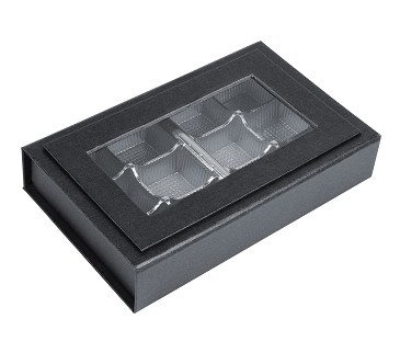 BY THE PIECE, Rigid Set-Up Box, Magnetic Charm Window Box, 8 oz., Matte Finish, Black