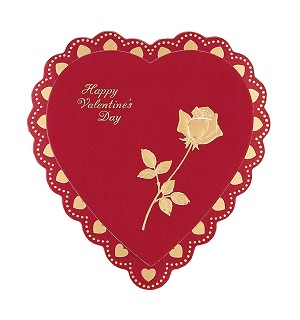 Heart Box, Foil Rose Hot-Stamped, Red, 8 oz., QTY/CASE-24