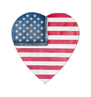 BY THE PIECE, Heart Box, CLOSEOUT, Denim Flag, 8 oz.