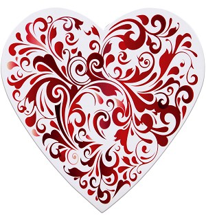 BY THE PIECE, Heart Box, Red Swirl, 1 lb.