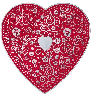 Heart Box, Embossed, Silver, 1 lb., QTY/CASE-12