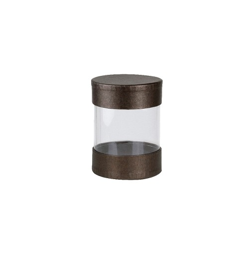Clear Plastic Packaging, Cylinder, Deco Bronze, 3-3/8 x 2-5/8
