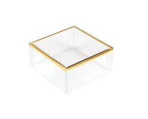 "Clear Plastic Packaging, Square, Gold Trim, 3"" x 3"" x 1-3/8"", QTY/CASE-50"