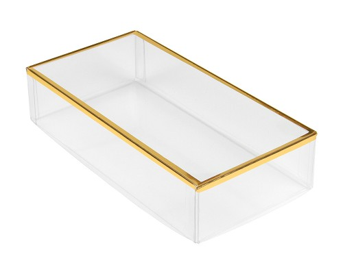 Clear Plastic Packaging, Rectangle, Gold Trim, 6 x 3 x 1-3/8