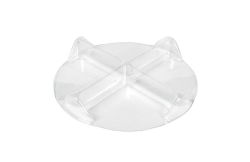 Clear Plastic Packaging, Four Section Divider, Round, Clear, 8 oz., QTY/CASE-50