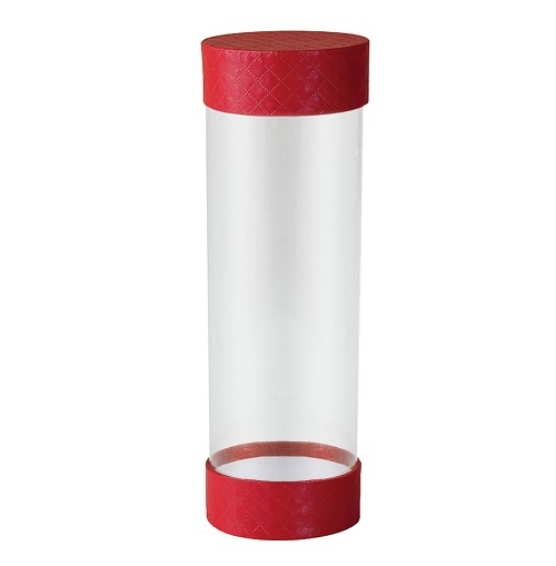 Clear Plastic Packaging, Cylinder, 5th Ave. Red, 8 x 2-5/8