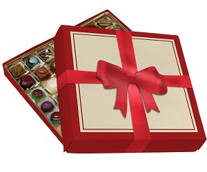 BY THE PIECE, Folding Carton, Lid and Base, Gift-Sized, Square, Single-Layer, Red Bow Box