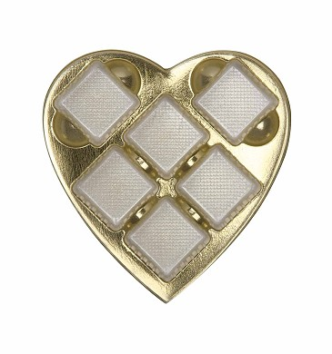 BY THE PIECE, Heart Truffle Tray, Plastic, Gold, 8 oz., 6 Cavity, Square Cavities, QTY/CASE-50