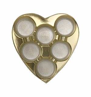 Heart Truffle Tray, Plastic, Gold, 8 oz., 6 Cavity, Round Cavities, QTY/CASE-50