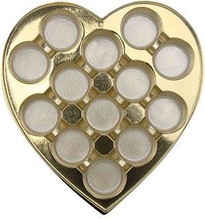 BY THE PIECE, Heart Truffle Tray, Round, Gold, 1 lb., 13 Cavity