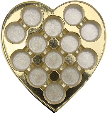 Heart Truffle Tray, Plastic, Gold, 1 lb., 13 Cavity, Round Cavities, QTY/CASE-50