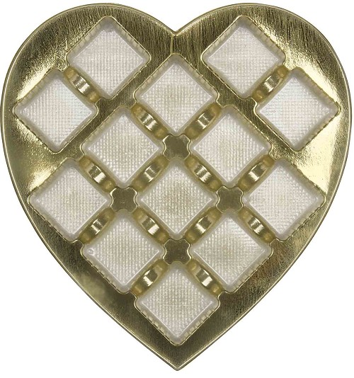 BY THE PIECE, Heart Truffle Tray, Plastic, Gold, 1 lb., 13 Cavity, Square Cavities, 8-1/2 x 9 x 1