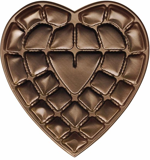 Heart Tray, Plastic, Brown, 1 lb., 27 Cavity, 8-3/4 x 9-1/2 x 1