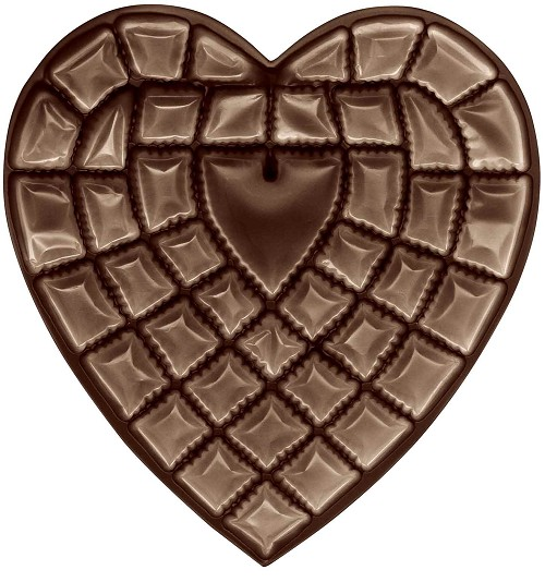 Heart Tray, Plastic, Brown, 1-1/2 lb., 42 Cavity, 10-1/2 x 10-3/4 x 1