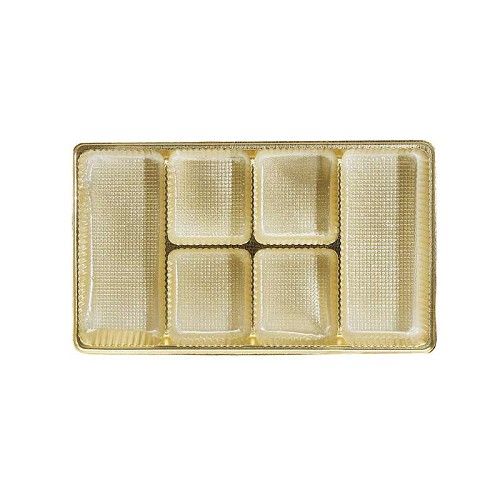 Tray, Rectangle, Gold, 8 oz., 6 Cavity, Mixed Spaced Cavities, 7 x 4-1/2 x 1