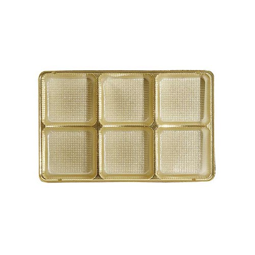 Tray, Rectangle, Gold, 8 oz., 6 Cavity, 7 x 4-1/2 x 1