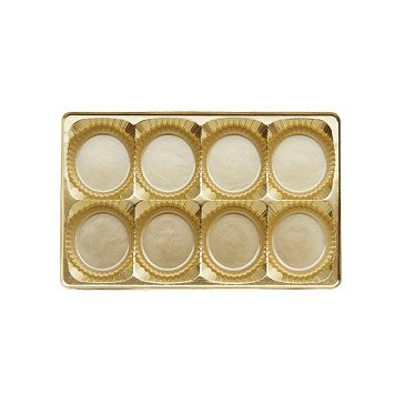 Tray, Rectangle, Gold, 8 oz., 8 Cavity, Round Cavities, QTY/CASE-50
