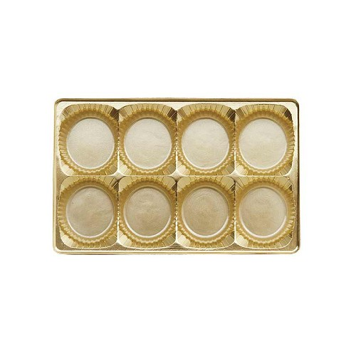 Tray, Rectangle, Gold, 8 oz., 8 Cavity, Round Cavities, 7 x 4-1/2 x 1