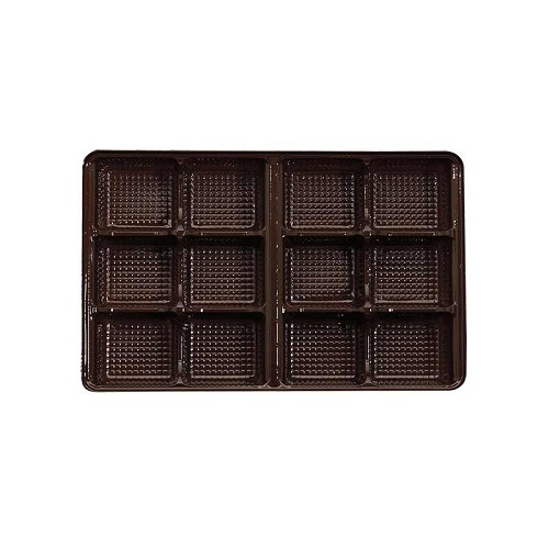 Tray, Rectangle, Brown, 8 oz., 12 Cavity, 7 x 4-1/2 x 1