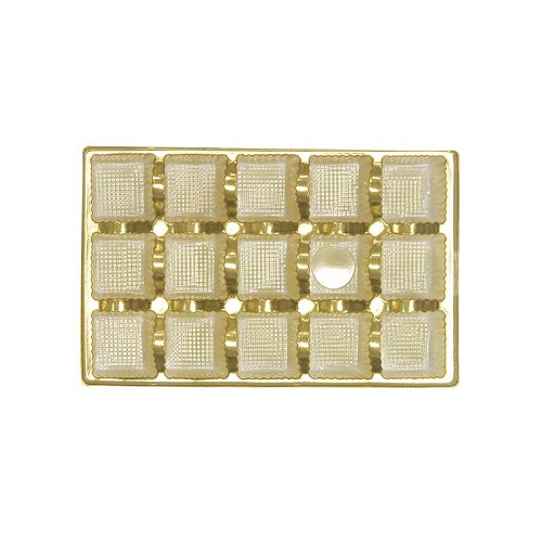 BY THE PIECE, Tray, Rectangle, Bright Gold, 8 oz., 15 Cavity, 7 x 4-1/2 x 1