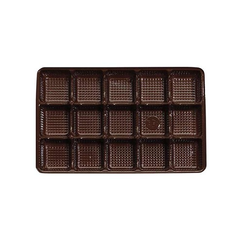 BY THE PIECE, Tray, Rectangle, Brown, 8 oz., 15 Cavity, 7 x 4-1/2 x 1