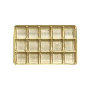 BY THE PIECE, Tray, Rectangle, Plastic, Gold, 15 Cavity