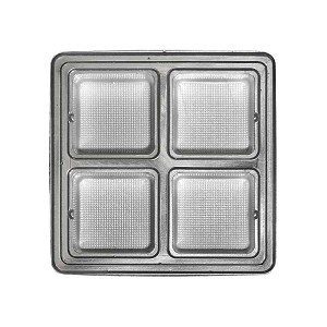 Tray, Square, Silver, 8 oz., 4 Cavity, QTY/CASE-50