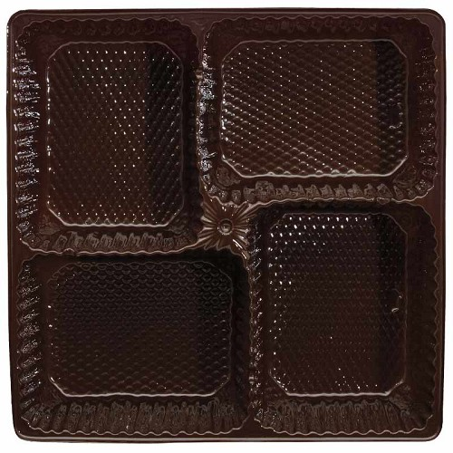 Tray, Pretzel, Square, Brown, 16 oz., 4 Cavity, 7-1/2 x 7-1/2 x 2