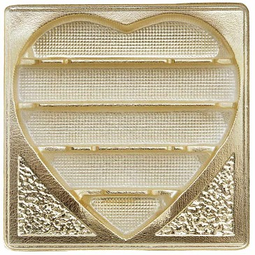 Tray, Square, Heart, Gold, 5 Cavity, 1 lb., QTY/CASE-50