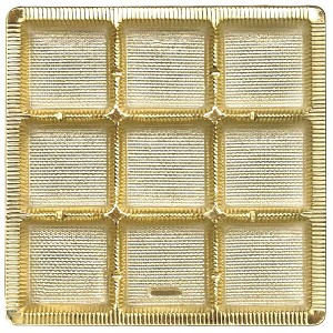 BY THE PIECE, Tray, Square, Gold, 9 Cavity